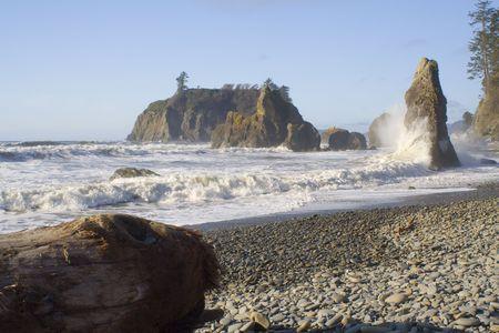 Waves crashing on Ruby Beach with seastacks photo