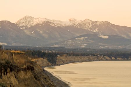 Beautiful winter dawn over the  Mountains from the Dungeness Spit Stock Photo - 2985715