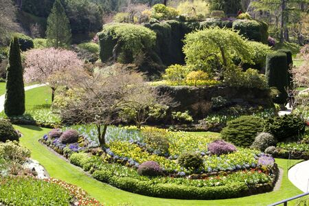 A formal garden in bloom in early spring