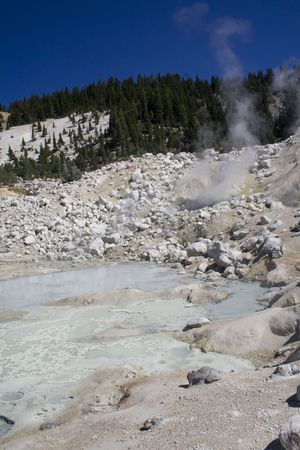 fumarole: Bumpass Hell, a sulfuric hydrothermal area in Lassen Volcanic National Park