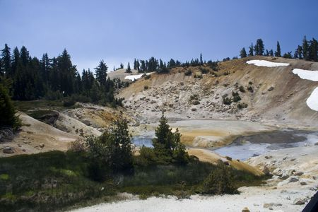hydrothermal: Bumpass Hell, a sulfuric hydrothermal area in Lassen Volcanic National Park