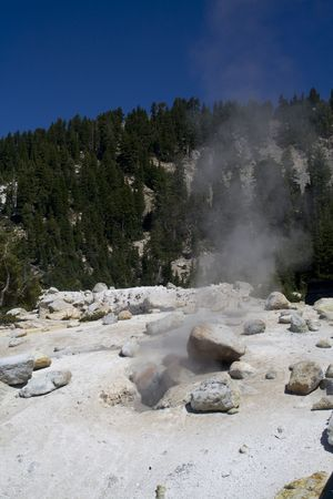 hydrothermal: A hydrothermal vent spewing steam and volcanic gases in Lassen Volcanic National Park