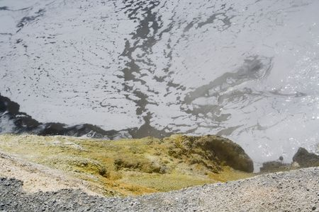 fumarole: A boiling mud pot in Lassen Volcanic National Park Stock Photo