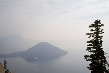 crater lake: A foggy spring morning at Crater Lake National Park