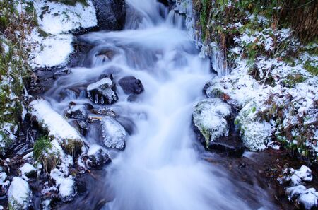 oregon cascades: Wahkeena Falls in winter with ice and snow