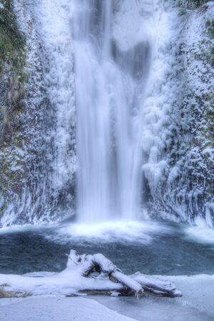 Multnomah Falls frozen in winter Stock Photo