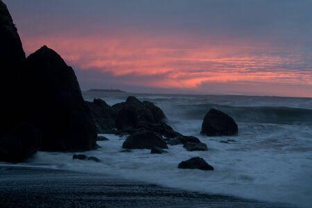 A Pacific coast beach near sunset in winter photo