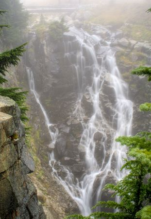 Myrtle Falls on a foggy day at Mt. Rainier National Park Stock Photo