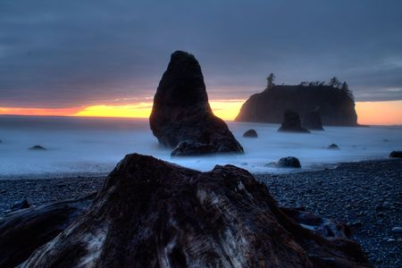 Ruby のビーチの夕日