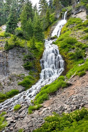 crater lake: Vidae Falls in Crater Lake National Park Stock Photo