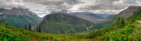 Panoramic view of mountains in Glacier National Park, Montana