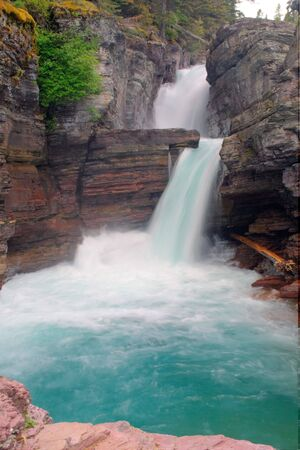 St. Mary Falls in Glacier National Park, Montana Stock Photo