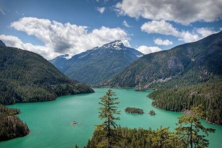 lake diablo: El Diablo Lake in the North Cascades Stock Photo