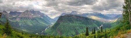 Panoramic view of mountains in Glacier National Park, Montana photo