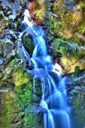sol duc river: Sol Duc Falls in Olympic National Park Stock Photo