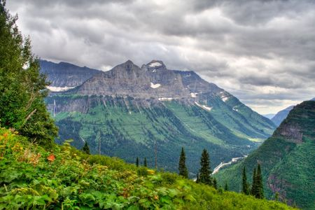 Beautiful mountain vista in Glacier National Park photo