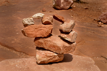 man made: A man made rock formation in the Utah canyon lands area Stock Photo