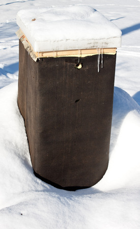 wintering: A beehive wrapped in tar paper for over wintering Stock Photo