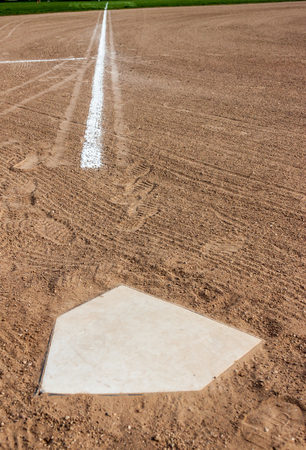 Home plate with the third base line Stock Photo
