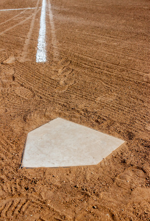 homeplate: Home plate with the third base line Stock Photo