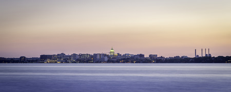 Madison skyline at dusk from Lake Monona photo
