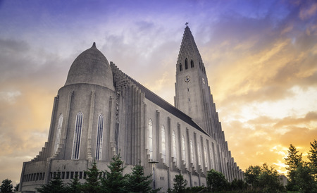 The Hallgrímskirkja in Reykjavik under the beautiful midnight sun