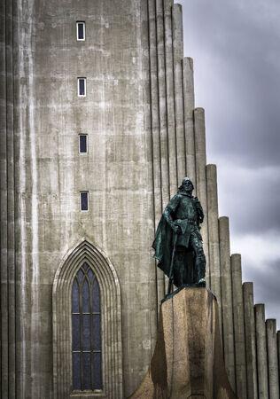 erikson: The Hallgrímskirkja in Reykjavik on a stormy day