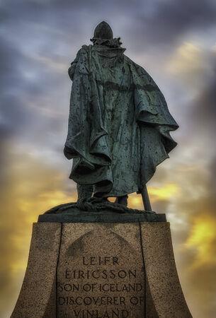 Leif Ericsson statue in Reykjavik, Iceland with midnight sun