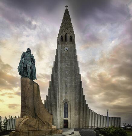 erikson: The Hallgrimskirkja in Reykjavik, Iceland under the midnight sun Stock Photo