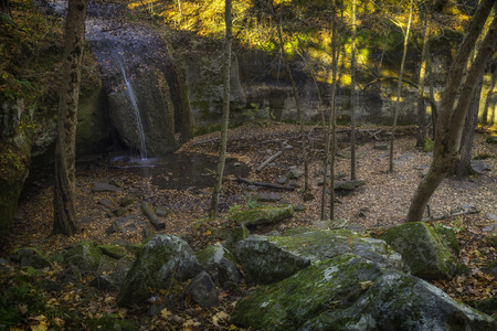 governor: A small waterfall in Governor Dodge State Park Stock Photo