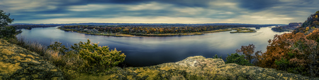 bluff: The Wisconsin River from Ferry Bluff Stock Photo