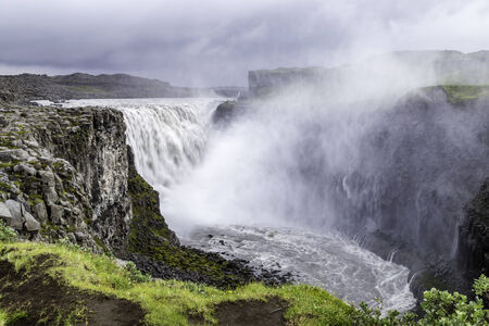 enormous: Dettifoss, a waterfall with enormous volume in north Iceland