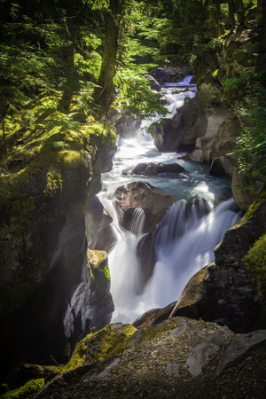Glacier National Park: A beautiful waterfall in Glacier National Park, Montana Stock Photo
