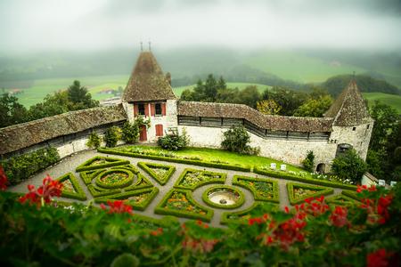 The gardens of castle Gruyeres in Switzerland