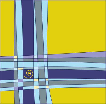 bestowal: image of intersecting colored lines on a yellow background