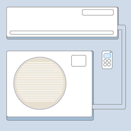 split system air conditioner with remote control on a blue background Vector