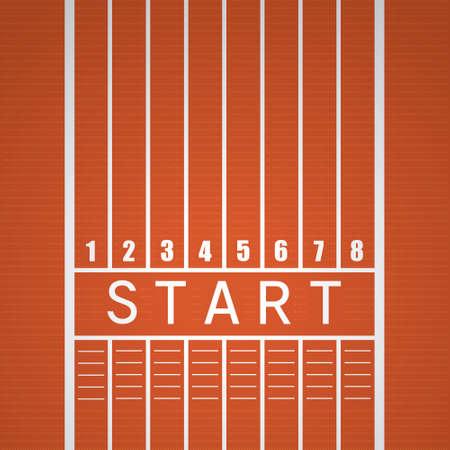 Start te volgen lijn op een rode atletiekbaan.