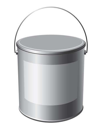 steel bucket: image buckets of paint on a white background