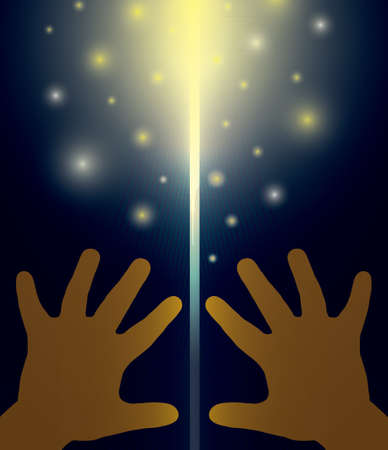 childrens hands opening the door from which pours light. Vector