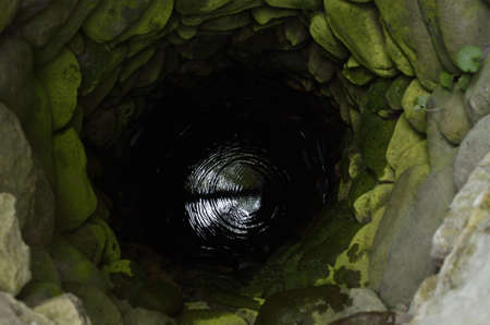 black hole: Old deep well with water. view from above.