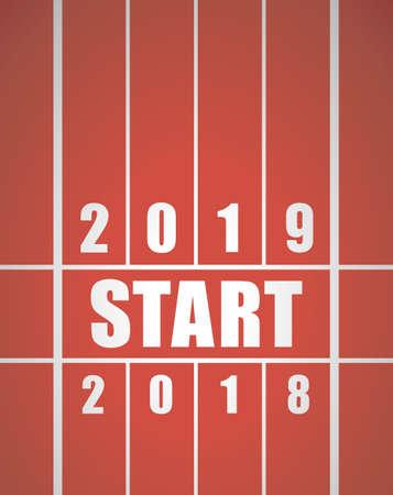 Pista di partenza per il nuovo anno. 2018 per l'anno 2019.