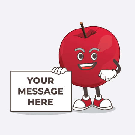 Apple cartoon mascot character holding a board sign message