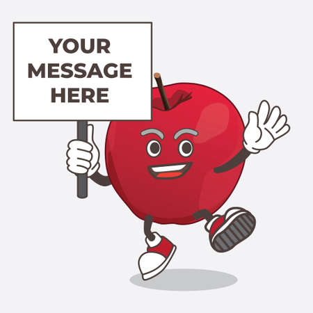 Apple cartoon mascot character with board sign message