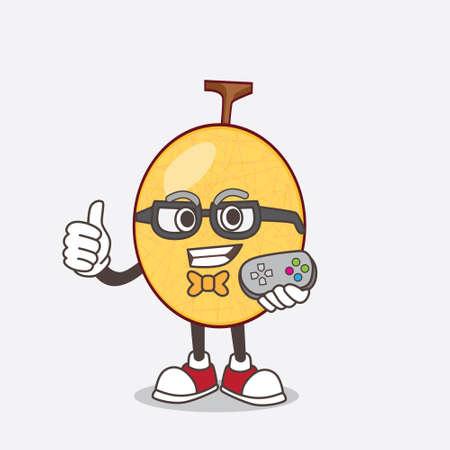 A picture of honeydew cartoon mascot character as attractive gamer Illusztráció