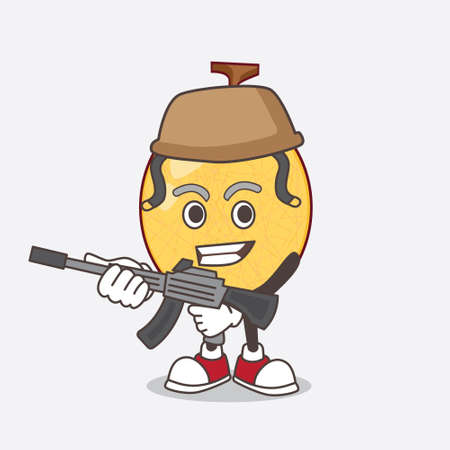 A picture of honeydew melon cartoon mascot character in an Army uniform with machine gun