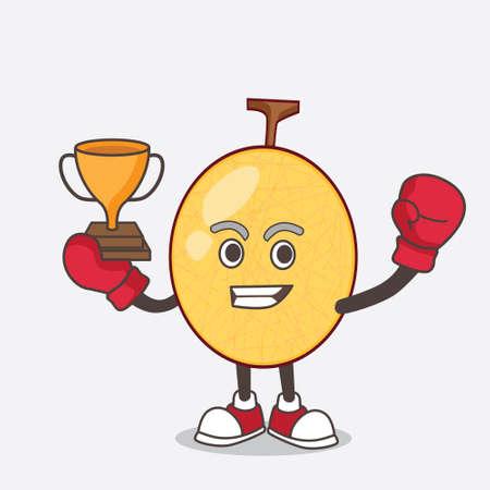 A picture of honeydew cartoon mascot character as Boxing winner of arcade game machine Illusztráció