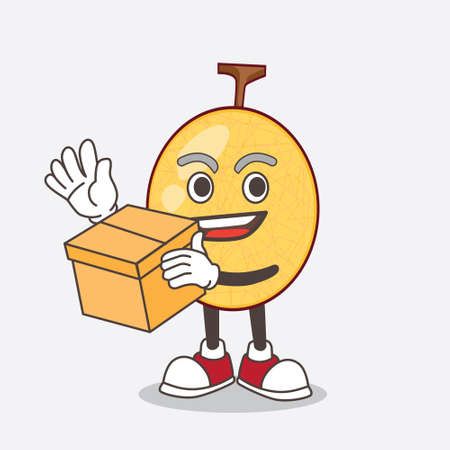 A picture of honeydew melon cartoon mascot character holding a box