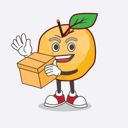 A picture of Apricot cartoon mascot character holding a box