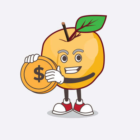 A picture of Apricot cartoon mascot character holding a gold coin medal