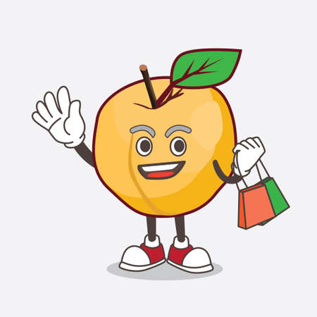 A picture of Apricot cartoon mascot character waving and holding Shopping bag